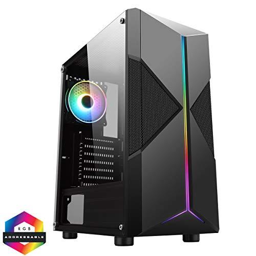CiT Pyro ARGB PC Gaming Case, ATX, 1 x 120mm ARGB Ventilator Inbegrepen, ARGB LED Strip Inbegrepen, 3 Pin AURA Sync, 8 Ventilator Ondersteuning, Water-Koeling Klaar | Zwart