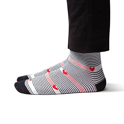 Red, white and black stripe Valentine socks with hearts