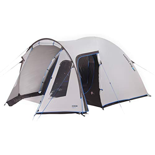 High Peak Family Tent for 5 People, Dome Tent Heat Resistant Camping Tent with Stem and 2 Entrances, 3000 mm Waterproof, UV 80 Sun Protection, Dark Inner Tent, Nimbus Grey