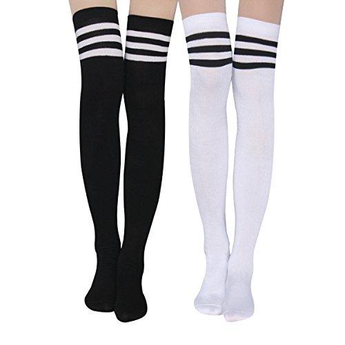 YouGa Overknee strümpfe - Damen Kniestrümpfe, Cheerleader Kostüm Stockings Schulmädchen Kniestrümpfe Football Sportsocken Strümpfe Damen Baumwollstrümpfe (SchwarzF)