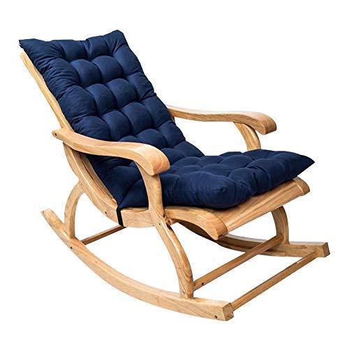 Cuscino Imbottito per Poltrona Sdraio Relax 120cm in Cotone Antiscivolo Cuscino Imbottito per Sedia a Sdraio Dondolo per Interno ed Esterno da Giardino (120cm, blu navy)