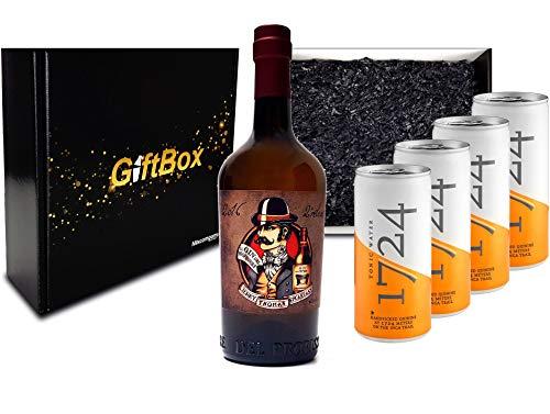 Gin Tonic Giftbox Geschenkset - Gin del Professore Monsieur 0,7l 700ml (43,7% Vol) + 4x 1724 Tonic Water Dose 200ml inkl. Pfand EINWEG - [Enthält Sulfite]