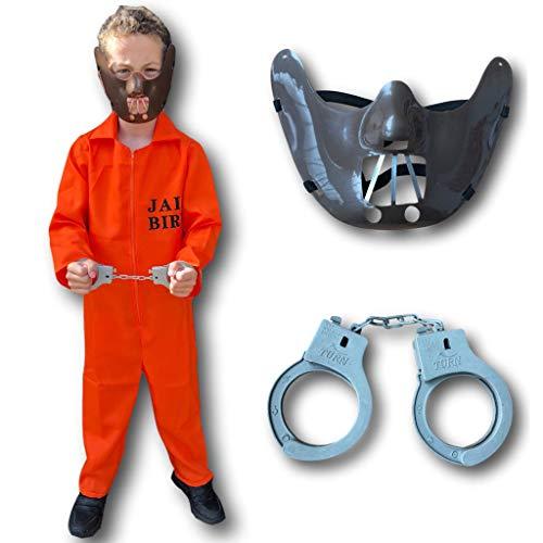 Rubber Johnnies TM Häftling Kostüm für Kinder, Orange (Hannibal/Kinderschürzen Jailbird Halloween Fasching