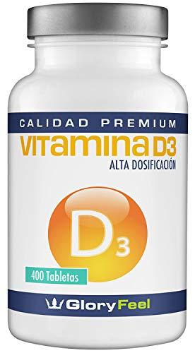 Vitamina D 8100 IU 400 comprimidos - Vitamina D3 vegana - 8.100 IU / 200 µg de Vitamina d concentrada por pastilla 100% Natural y pura – Calidad Premium fabricada en Alemania
