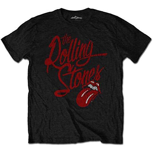 Rolling Stones The Script Logo Camiseta, Negro, L para Hombre