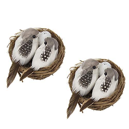 2 STKS Pasen Vogelnest Handgemaakte Finch Nest Vogelhuis met Nep Vogels & Eieren
