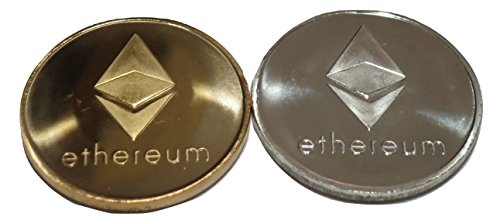 TrendyLuz 2 PC Colored Set Ethereum ETH Physical Display Metal Novelty Play Chip Tokens in Plastic Holder Cases Velvet Pouch by