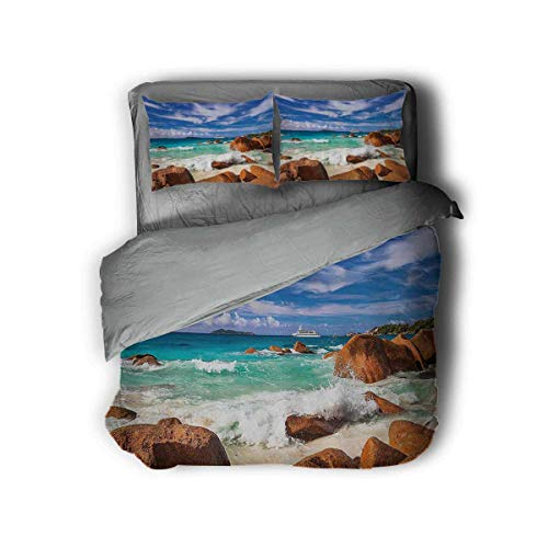 Luoiaax Tropical 3-Pack (1 Duvet Cover and 2 Pillowcases) Exotic Rocky Coast with Wave Seychelles Island Paradise Beach Scenery Polyester (Twin) Cinnamon Blue Turquoise