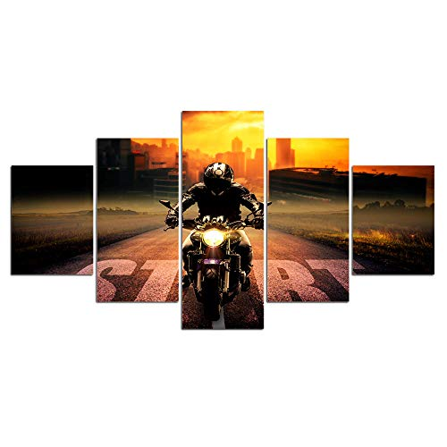 5 Piezas Lienzos Cuadros Pinturas Motocicleta, Bicicleta De Montaña, Todoterrenomodernos Impresión Imagen Artística El Arte Pared del Hogar Salón Oficina Decoración Sin Marco