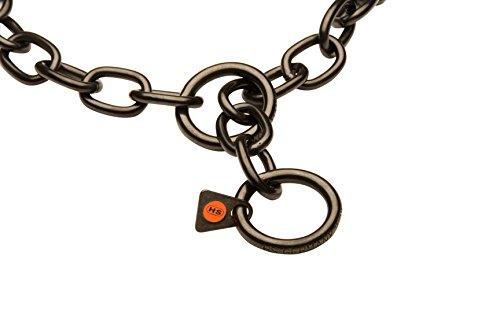 Herm Sprenger Halskette Schwarz Edelstahl Mastiff, Gliederkette, 4,0mm (6Zoll) Durchmesser, Größe 29cm, 65, 68cm, 72cm für Hunde mit Halsumfang von 26–27cm