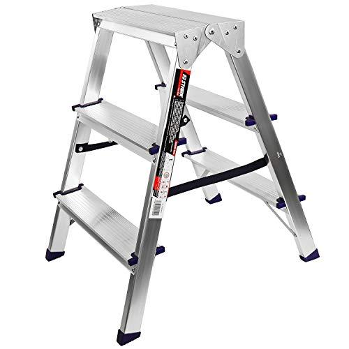 STARK Aluminium-Doppelstufen - Klapptrittleiter, Klapptritt 3-stufig, Trittleiter zusammenklappbar, Klapptritt bis 150 kg, Höhe 65 cm