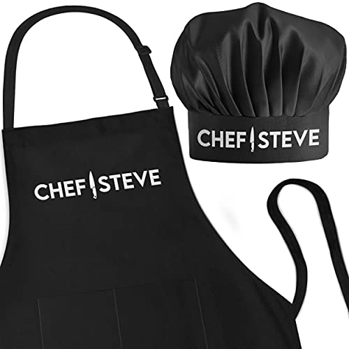 Personalized Apron and Chef Hat Set - Adjustable 1 Size Fits up to3XL - Custom Add A Name Apron for Men and Women - Cooking Gift (Professional Knife Design)