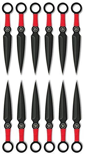 XXL SET 12er EXPENDABLES Wurfmesser Profi Kunai ca. 15,7cm - Throwing Knife - schnelles Werfen Messer Edelstahl - Trainingsmesser - Gürtelmesser - Messer Set inklusive 2 Holster aus Nylon schwarz, rot