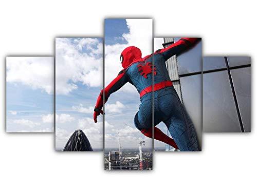 45Tdfc 200×100cmLienzo de Pintura 5 Piezas Personaje de película de superhéroe Spider Cool Spider Lienzo Pintura Pared Arte Imagen para Sala Moderna impresión Dormitorio