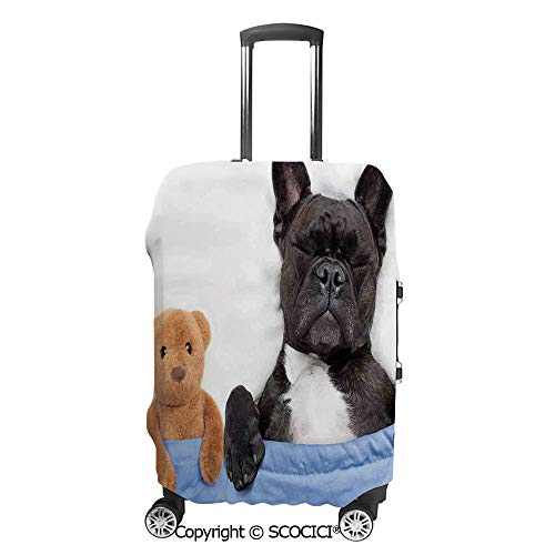 SCOCICI Luggage Bag Cover French Bulldog Sleeping with in Cozy Bed Best Fun Dreams Image Elastic Suitcase Protective Cover Travel Luggage Case Cover