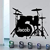 PSpXU Instrumento Musical Nombre Personalizado batería Set plástico Negro Pegatina de Pared calcomanía de Pared niño Dormitorio decoración Banda música Mural Personalidad 57x69cm