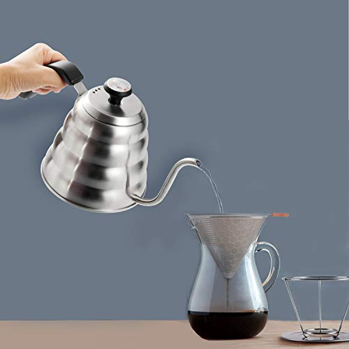 Pour Over Kettle, OAMCEG 40fl oz/1.2L Stainless Steel Gooseneck Pour Over Coffee Kettle with Thermometer for Exact Temperature - Insulated BPA Free Plastic Ergonomic Handle