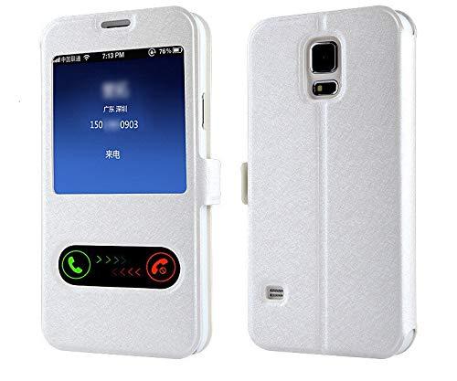 RZL Teléfono móvil Fundas Elegante de Lujo de la Ventana Delantera Vista del tirón del Cuero del Caso para Samsung Galaxy A6 A8 J6 2018 A3 A5 A7 J3 J5 J7 2016 2017 S9 S8 Plus Cubierta