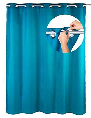 WENKO Duschvorhang Comfort Flex Petrol, 180 x 200 cm Vorhang Vorhänge Dusch-Vorhänge Wannenvorhang Badewannenvorhang Badezimmer