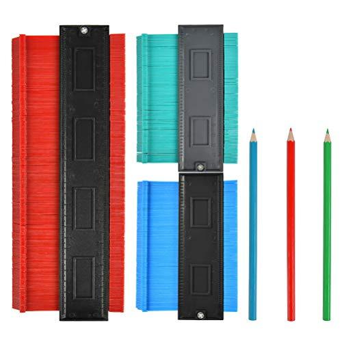 BUYGOO Konturenlehre Duplikator, 12,7 cm und 25,4 cm, Kunststoff, multifunktionales Formmaßlineal für präzise Messung, Fliesen, Laminat, Holz, Markierungswerkzeug, 3 Stück
