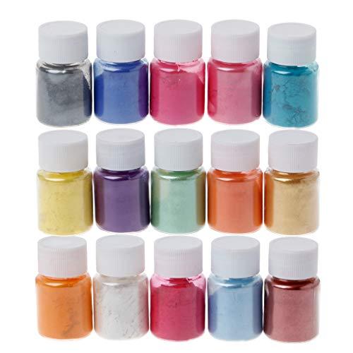 follwer0 Juego de 15 colores metálicos Mica Powder Pigmentos en polvo para jabón de baño, bomba, jabón, cosmética, pigmento de color