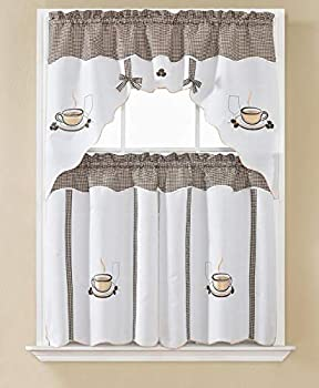 Beatrice Home 3pc Kitchen Curtain and Valance Set/1 Swag Valance and 2 Tiers,2 Tiers Width 30 x 36  Each and The Valance Length 60 x36   Coffee