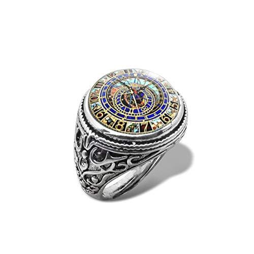 LMKAZQ New Astro Steampunk Ring Uhr Ring Glaskuppel Cabochon Handgemachten Schmuck Inlay Ring, Größe veränderbar, 1, Gold-Farbe