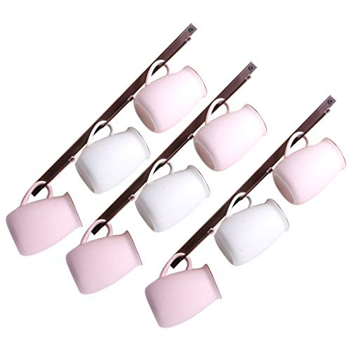 Fvstar 3 Stück Kaffeebecher-Regale Retro Tassen Hängehaken Vertikale Küche Tassen Halter Wandmontage für Bar Küchengeschirr Organizer (Bronze)