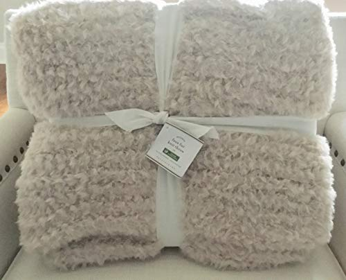 "Pottery Barn Faux Fur Knitted Throw 50"" x 80""~Blush~"