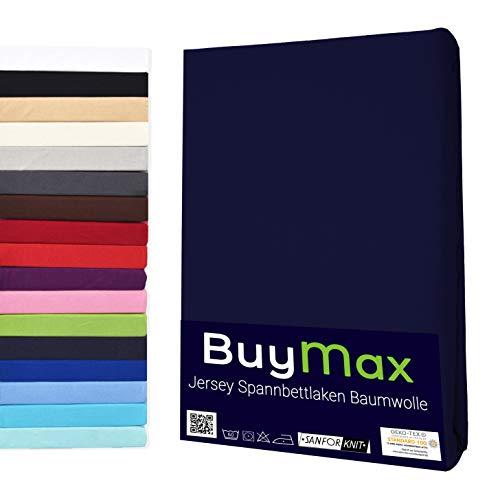 Buymax Spannbettlaken Stretch 180x200-200x220 cm für Wasserbetten und Boxspringbetten Bettbezug für Matratzen bis 40 cm Steghöhe, Blau Marineblau