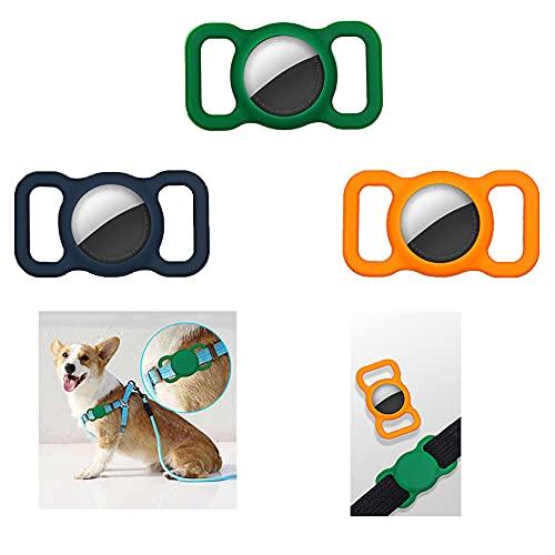 3 fundas protectoras de silicona para mascotas, adecuadas para collares de perro y gato Apple Airtag, adecuados para collares de mascotas, bolsas de ancianos de niños