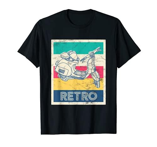 Patinete retro con diseño vintage. Camiseta