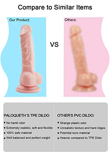 Realistic Ultra-Soft Dildo for Beginners with Flared Suction Cup Base for Hands-Free Play, PALOQUETH Flexible Dildo with Curved Shaft & Balls for Vaginal G-Spot & Anal Prostate Play 6.7