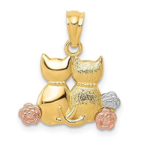 14k Yellow Gold Two Tone White Cats Pendant Charm Necklace Animal Cat Fine Jewellery For Women Gifts For Her