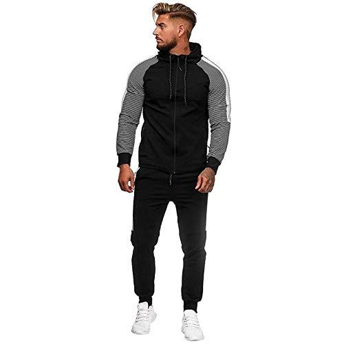 Men's Jogging Tracksuit Sportswear Casual Joggers Set Zipper Hoodie Sweatshirt+ Running Sweatpants by-Leegor (H-Black, 4X-Large)