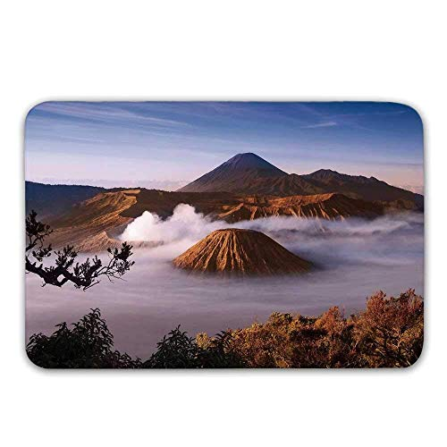 YnimioHOB Volcano Front Door Mat, Mount Bromo Vulkane eingelassenes Tengger Caldera Ost Java Indonesia Dekorative Fußmatte für innen oder außen