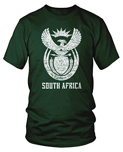 Amdesco Men's South Africa Coat of Arms, South African T-Shirt, Forest Green Medium