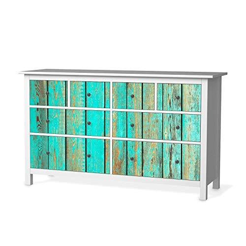 creatisto Möbelfolie passend für IKEA Hemnes Kommode 8 Schubladen I Möbelsticker - Möbel-Tattoo Sticker Aufkleber I Deko Ideen Wohnung für Schlafzimmer, Wohnzimmer - Design: Wooden Aqua