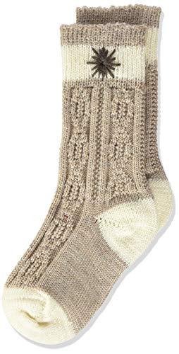 Lusana Jungen Kinder-Socke zweifarbig, bestickt Kniestrümpfe, Beige (Beige/Natur 1325), One Size (Herstellergröße: 18-20)