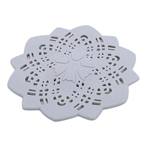 CAVIVI Silikon Blume Abflussdeckel Haarfänger Bad Dusche Abflussdeckel Haarfilter Spüle Sieb Spüle Abflussdeckel Stopper, grau