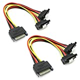 Tivid 2-Pack sata Cable Power 90 Degree SATA 15-Pin Power Splitter Hard Disk Power Extension Cable with Locking Latch SATA 15 Pin Male to 2 Female Right Angle