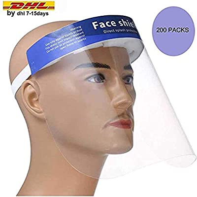 200 Packs Face Shield Medical Protect Eyes and Full Face with Protective Clear Film Elastic Band and Comfort Sponge