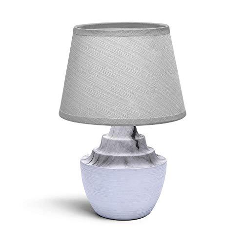 Aigostar - Lámpara de mesa, cuerpo color gris semi ovalado, pantalla de tela color blanco, Lámpara de Cerámica E14 (Bombilla no incluida). Lampara mesita noche, perfecta para el salón, dormitorio.