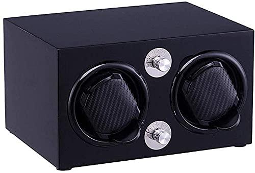 Luxusautomatischer Uhrenwickler 5-Modus mit ruhiger Motor Klaviermalerei Holz Aufbewahrungsbox für 2 Uhren (Farbe: Ebenholz)-Ebenholz Excellent