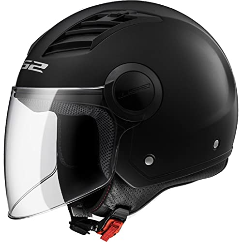 LS2 OF562 Airflow - Casco para moto o scooter Vespa Demi Jet Retro Open Face Touring Vintage Casco abierto (M, negro mate)