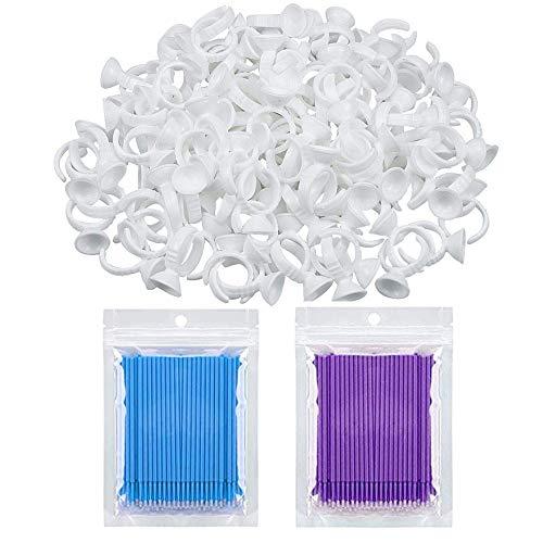 100 Pièces Anneaux de Pigment Jetables Support de Colle Maquillage Cils,200 Bâtons de Nettoyage, Porte Pigments Adhésifs pour Extension de Faux cils Outil de Beauté