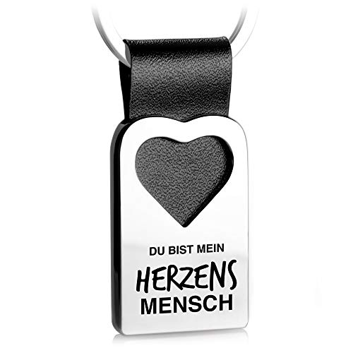 FABACH Herz Schlüsselanhänger mit Gravur aus Leder - Lieblingsmensch Geschenk Anhänger für Partner, Beste Freundin, Bester Freund - Herzensmensch