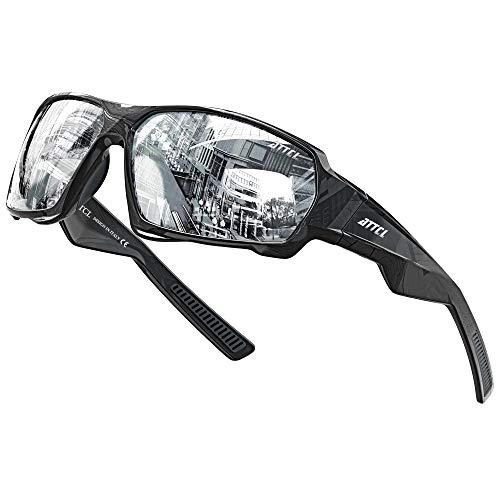 ATTCL Sonnenbrille Herren Polarisierte Sportbrille UV400 Schutz Ultra leicht TR90 Rahme Fahrerbrille XQ330 Silver