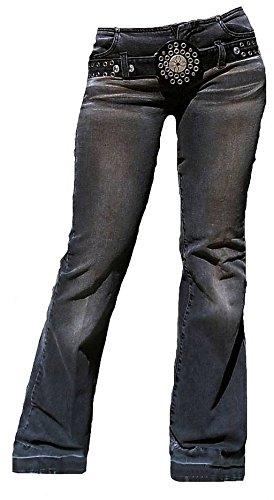 Fornarina Damen Jeans Grau Model Cave Black Stretch mit Nieten Gürtel W27 L34