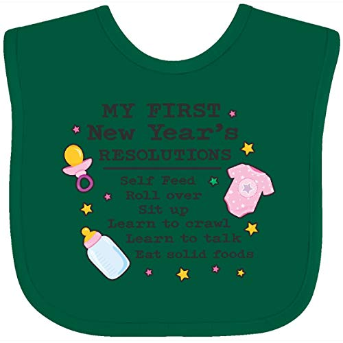 Inktastic My First New Years Resolutions with Baby Clip Art Baby Bib Green 2e176